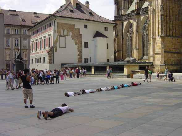 crazy people in prague flash mob